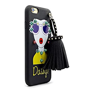 """Caselegance iPhone 6/6S Plus 5.5"""" Chic Cute Cool Sunglasses Girl Yellow Daisy Strap Silicone Rubber TPU Slim Fit Flexible Phone Case BLACK"""