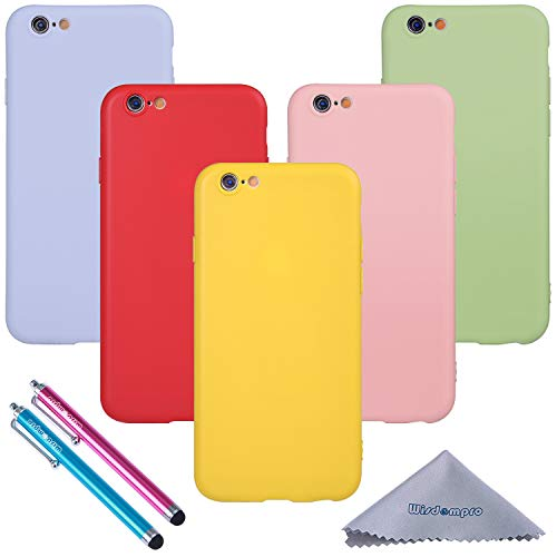 iPhone 6 Case, iPhone 6s Case, Wisdompro Bundle of 5 Pack Extra Thin Slim Jelly Soft TPU Gel Protective Case Cover for Apple 4.7 Inch iPhone 6 6s (Green, Light Blue, Pink, Yellow, Red) - Candy Color (Iphone 5 Accessories Bundle)