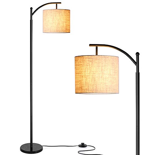 (Floor Lamp, Zanflare LED Floor Lamp-Classic Arc Floor Lamp with Hanging Lamp Shade, Modern Floor Lamp for Bedroom, Office, Study Room, Energy Saving Bedside Lamp with LED Bulb, Black)