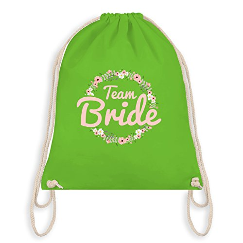Shirtracer JGA Junggesellinnenabschied - Team Bride Blumenkranz - Turnbeutel I Gym Bag Hellgrün