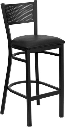 HERCULES Series Black Grid Back Metal Restaurant Bar Stool - Black Vinyl Seat by Flash Furniture