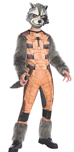 [Rubies Guardians of The Galaxy Deluxe Rocket Raccoon Costume, Child Small] (Raccoon Girl Costumes)