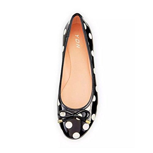 Compre una buena venta barata Explora barato en línea Mujeres Polka Dot Ydn Ballet De Punta Redonda Zapatos Sin Cordones Tacón De Marcha Planas Con Bowknot Negro-blanco J6lZVPNPXZ