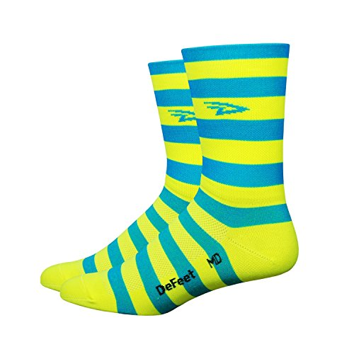 - DeFeet Aireator Striper Cuff Socks, Blue/Yellow, Large