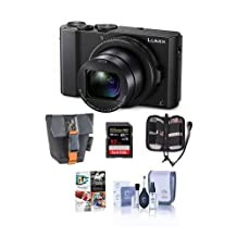 "Adorama Panasonic Lumix DMC-LX10 Digital Camera, 20MP 1"" Sensor - Bundle with 32GB SDHC U3 Card, Camera Case, Cleaning Kit, Memory Wallet, Software Package"