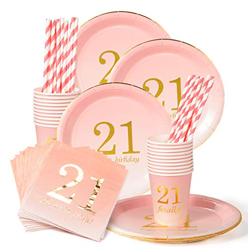 21st Birthday Decorations Party Supplies Gifts for her Napkins,Cups,Plates,Straws - 24 Sets (21st Birthday)