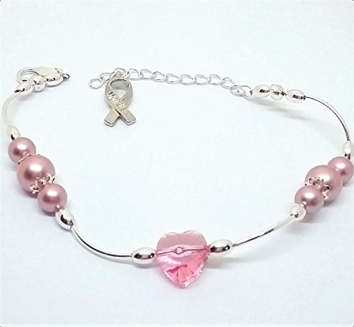 Swarovski Breast Cancer Bracelet - Breast cancer awareness beaded bracelet with Swarovski pearls and heart with hope ribbon charm.