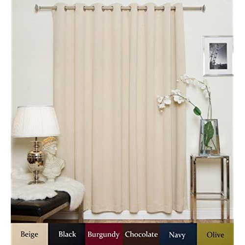 Blackout Curtain Beige Wide Width Nickel Grommet Top Thermal Insulated 100 Inch By 108 Long Panel