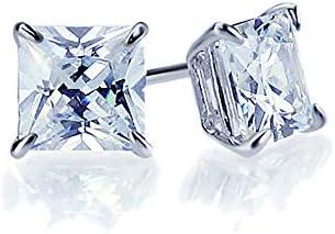 Silver Rhodium Plated Princess Cut CZ Cubic Zirconia Cushion Deco Stud Earrings