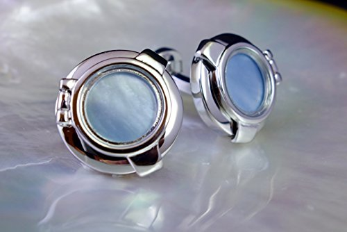 Nautical Link (Genuine Mother of Pearl Cufflinks, Nautical Blue Steampunk Cufflinks, Mens Cufflinks Unique Cufflinks Birthday Wedding Anniversary Gift for Him)