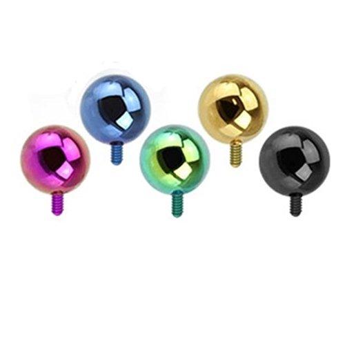 Paula & FRITZ microdermal Embout Boule 3mm 5en 5couleurs 5sat01–Lot de 3
