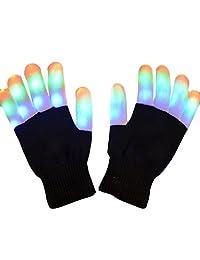 Tonsee Flashing Finger Lighting Gloves LED Colorful Rave Gloves 7 Colors Light Show