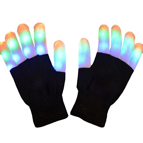 Black Led Light Up Fingerless Gloves