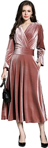 - Ababalaya Women's 90s Retro Velvet Faux Wrap Empire Midi Long Formal Evening Gown,Pink,XL
