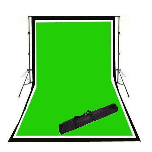 Cowboystudio Photography Full Size 10x12ft Background Support System and Three Cowboystudio 10x20ft 100% Cotton Muslin Backdrops by CowboyStudio