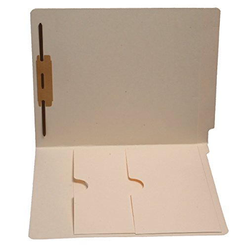 11 pt Manila Folders, Full Cut End Tab, Letter Size, Double Pockets Inside Front, Fastener Pos #1 (Box of 50)