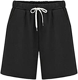 Womens Soft Solid Elastic Waist Cotton Jersey Shorts With Drawstring