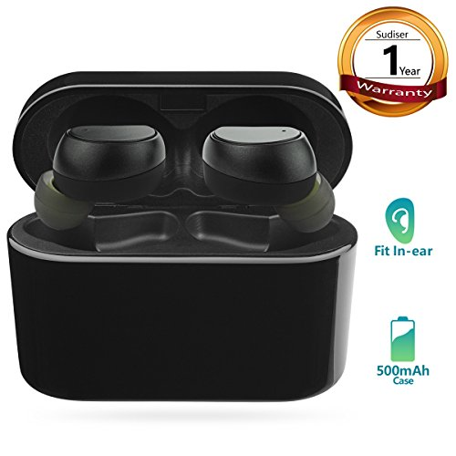 Wireless Earbuds Bluetooth Headphones - SUDISER Mini True Wireless Bluetooth Earphones (2018 Most Popular) Noise Cancelling Sweatproof Headset with Microphone and Charging Case for iPhone Samsung etc