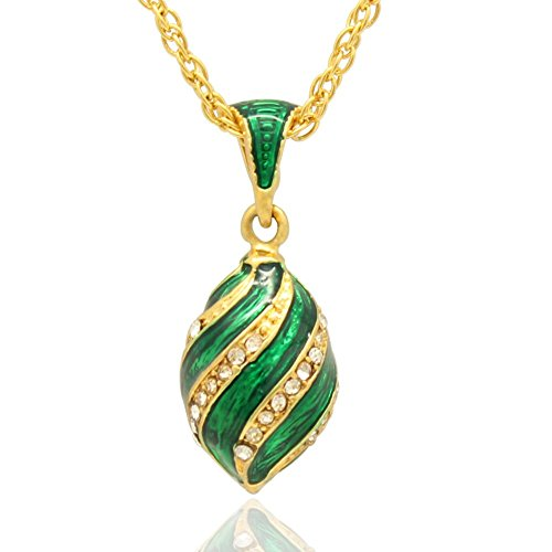 Crystal Egg Pendant - MYD Jewelry Color Enamel Crystal Faberge Egg Easter Egg Pendant Necklace (gold plated green)