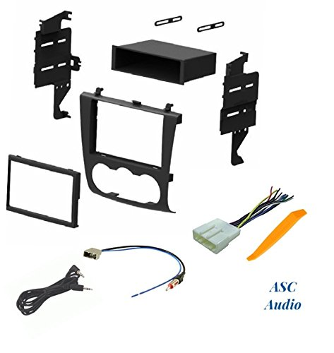 ASC Audio Car Stereo Install Dash Kit, Wire Harness, and Antenna Adapter for Installing an Aftermarket Radio for 2007 2008 2009 2010 2011 2012 Nissan Altima w/Manual Climate Control Knobs Nissan Altima Aftermarket