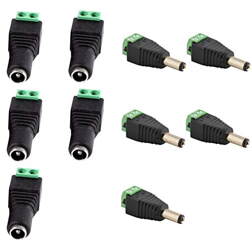JacobsParts Male and Female DC Power Jack & Plug Screw-on Wire Connector 5.5mm x 2.1mm for 12V/24V LED Strip and Electronics (5 Pairs) ()