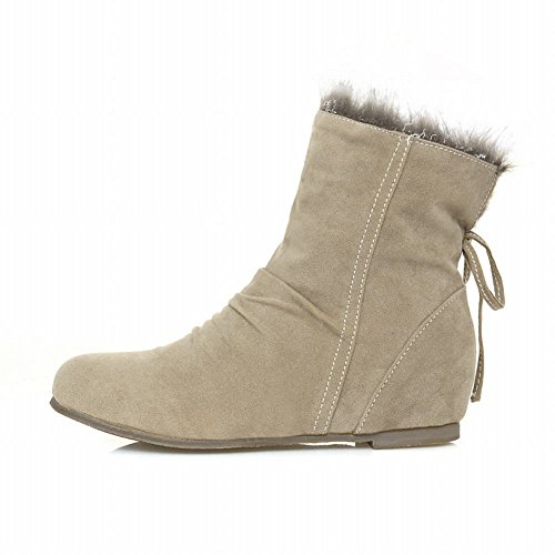 Carol Shoes Women's Western Concise Hidden Heel Bows Snow Boots Beige q0LY9ad