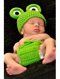 Baby Infant Boy Frog Crochet Hat and Diaper Cover Set Costume Photography Pro...