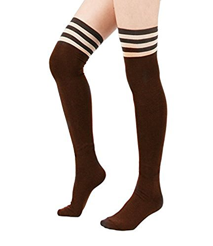 Spring fever Womens Cotton Vertical Stripe Tube Over Knee Thigh High Stockings Brown Pink And Brown Stripes
