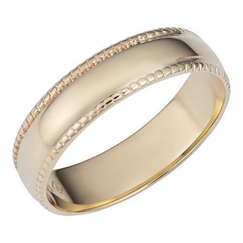 Kooljewelry 14k Yellow Gold Milgrain Wedding Band Ring (Size 7) ()