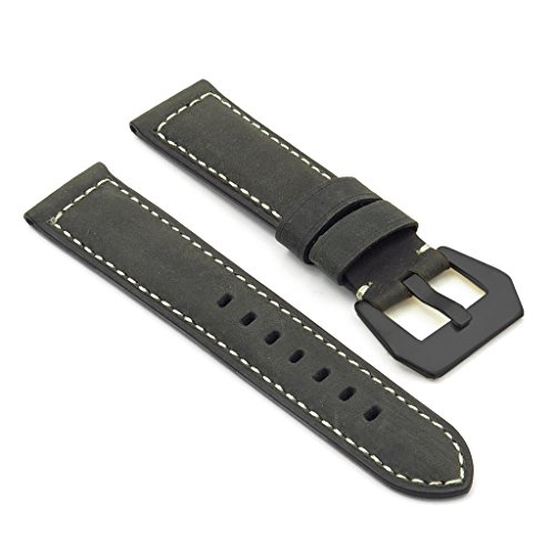 DASSARI Salvage Vintage Leather Watch Band with Matte Black Pre-V Buckle for Panerai