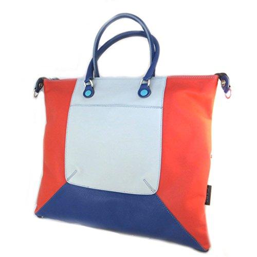 3 in 1 leather bag 'Gabs'blu grigio rosso (l)- 43x37x2.5 cm.