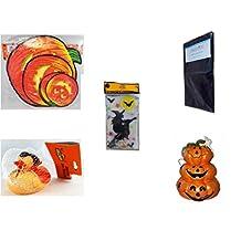 Halloween Fun Gift Bundle [5 piece] - Classic Pumpkin Cutouts Set of 9 - Black Plastic Table Cover Halloween - Gel Clings Witch, Bats, Stars - Happy Halloween Monster Duck Novelty -Vampire Rubber D