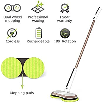 GOBOT Cordless Electric Mop, Scrubber Powerful Cleaner Handheld 180° Automatic Rotary +2 Extra Accessories, Polisher for Hard Wood, Tile, Vinyl, Marble and Laminate Floor