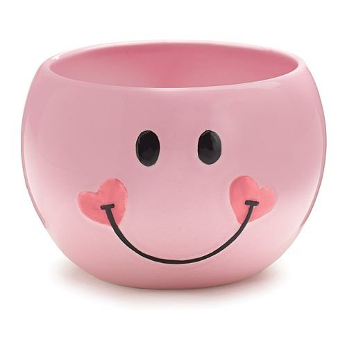 (Pink Smiley Happy Face Candy Dish/Planter with Heart)
