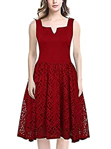 KILOLONE Womens 50s Plus Size Dresses Christmas Party Vintage Retro Bridesmaid Evening Lace Sleeveless Cocktail Dress