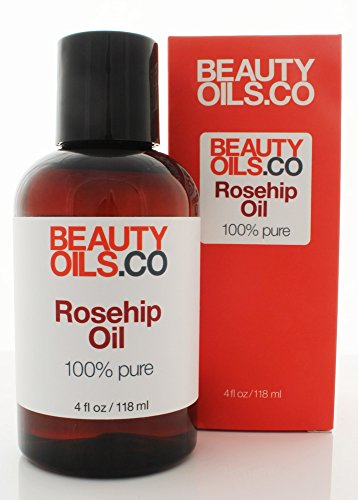 Rosehip Seed Oil 100% Pure Cold-Pressed Unrefined Rosa Mosqueta Anti-Aging Face and Body Beauty Moisturizer Treatment for Dry Skin (4 fl oz)