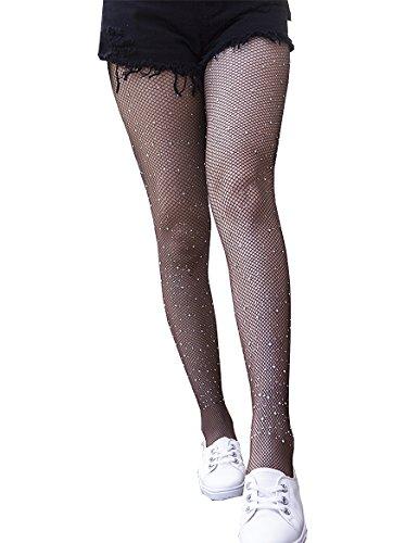 Anlaey Women's Sparkle Rhinestone Fishnets Tights High Waist Pantyhose Crystal Mesh Stockings, White Rhinestones-brown, One Size