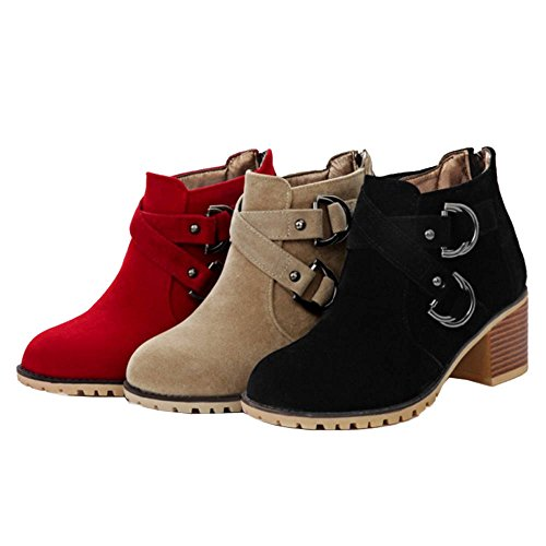 With Boots Ankle Toe Black With and Women Chelsea Chunky Heel Materail Smilice Suede Round Boots BCwTqE