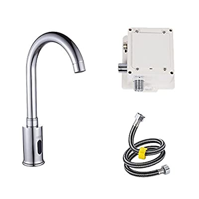 Touch-Free Electric Automatic Sensor Touchless Faucet Bathroom Vessel Sink Hot and Cold Mixer Faucet, Chrome Finish