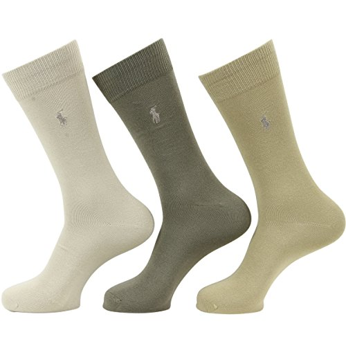 Polo Ralph Lauren Super Soft Crew Dress Socks 3-Pack, One Size, Khaki Assorted by Polo Ralph Lauren