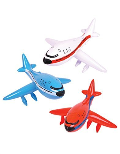 Jumbo Jet Airplane - 3 JUMBO 33 Inflatable AIRPLANES - JET - 747 AIRBUS - Birthday PARTY DECORATIONS Favors/Decor/RED, White, Blue PLANE TOYS by RIN