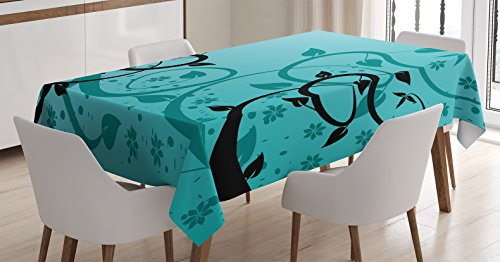 - Ambesonne Teal Decor Tablecloth, an Abstract Floral Modern Illustration with Winding Tendrils Leaves Vines and Flowers, Dining Room Kitchen Rectangular Table Cover, 52 X 70 inches, Black Teal
