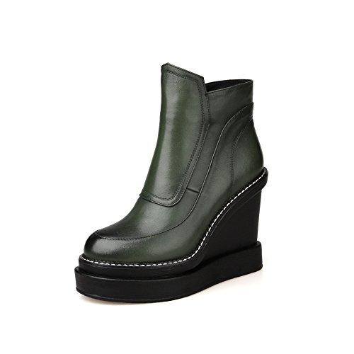 QIN inferior zapatos plataforma con La amp;X mujer Green zapatos plana wr7rxfq