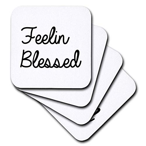 3dRose Tory Anne Collections Quotes - Feeling Blessed - set of 8 Ceramic Tile Coasters (cst_288759_4)