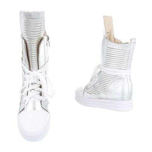 Ital-Design High-Top Sneaker Damenschuhe High-Top Keilabsatz/Wedge Sneakers Reißverschluss Freizeitschuhe Silber