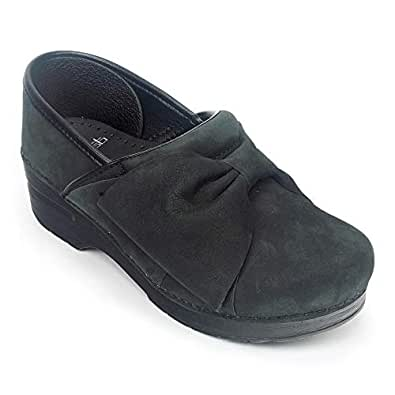 Dansko Women's Pro Bow Clog, Black Milled Nubuck, 39 M EU (8.5-9 US)