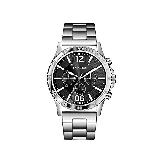 Caravelle Men's Quartz Watch with Stainless-Steel Strap, Silver, 24 (Model: 43A144)