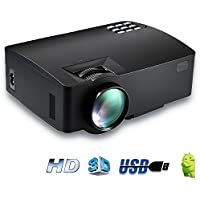 LCD Mini Projector Portable Movie Projector Video Projector Home Theater Cinema Entertainment Games Party Support 1080P HDMI USB SD Card TV Laptop Game iPhone Andriod Smartphone , Black