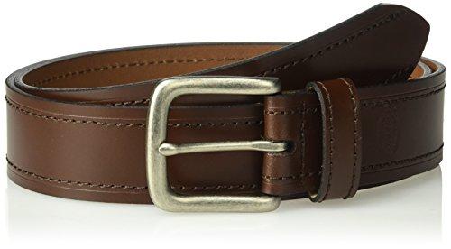 Dickies Men's 100% Leather Belt With Embossed Logo , -brown, Medium