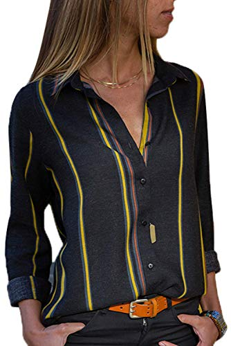 (Womens Chiffon Blouse Button Down Work Shirts Long Sleeve Striped V Neck Tops for Ladies Casual Office Black M)